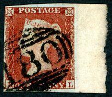 1841 1d deep red-brown - RL plate 150 - large part marginal