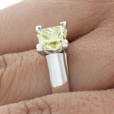 Diamond Engagement Ring Fancy Yellow Princess Cut 2.00 CT GIA Certified 18k Gold