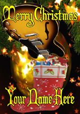 Semi Acoustic Guitar Stocking nxc116 Merry Christmas Personalised Greeting Card