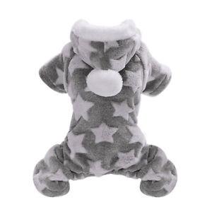Pet Dog Warm Winter Stars Pattern Clothes Fleece Jumpsuit Hoodies Puppy S-2XL