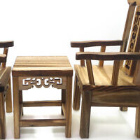 3x 1/12 Miniature Tea Table Armchairs Vintage Furniture Kit Dollhouse Decor
