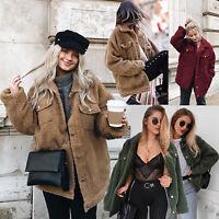 Winter Women Teddy Bear Pocket Fleece Fluffy Warm Coat Ladies Party Plain Jacket
