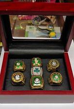 Boston Celtics - 7 Ring NBA Basketball Championship Set With Wooden Display Box