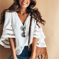 Women's Fashion Bell Flare Sleeve Blouse Casual Boho Loose Shirt Tops T-Shirt