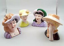 "CUTE Set of 4 Vintage Lady's Head Bust Dress, 5 1/2"" Ceramic Decorative Figurine"