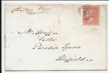 GB 1857 SHEFFIELD COVER QV 1d RED