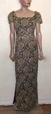Luis Estévez vintage golden brocade vintage MCM gown SZ 14 label