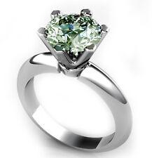 Solitaire 925 Silver Engagement Ring 3.20 Ct Vvs1;Blue White Moissanite Diamond