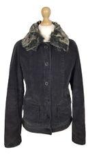#802 Papaya Ladies Black Faux Fur Collar Padded Winter Jacket Coat, UK 10