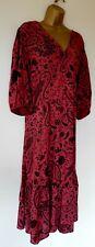 Señoras vestido de Paisley Rosa Talla 22! nuevo con etiquetas! Boho Gitano Floaty volantes