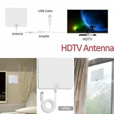 White Digital TV Antenna ATSC Up to 80 Mile Range Clear View Amplified Booster