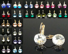 Birthstone Earrings Genuine SWAROVSKI Elements Wedding 10mm Silver Gold Crystal