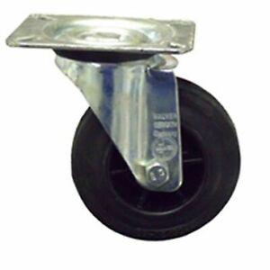 Castors/Wheel 70KG, Black Rubber Tyre, Swivel Plate Castor 100mm x 30mm