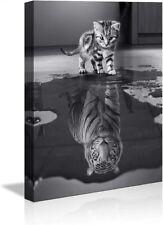 Bilder Leinwand  Tiger und Kätzchen 4028 fertig auf Rahmen Wandbilder