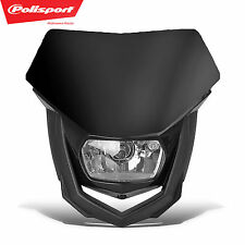 PoliSport Headlight Black MX Halogen Dirtbike Moto DOT CE ECE Kawasaki