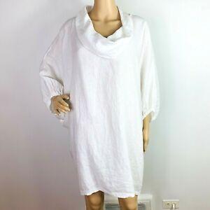 Bryn Walker 100% Linen Tunic Blouse Oversized Sz S Cocoon White 3/4 Sleeve