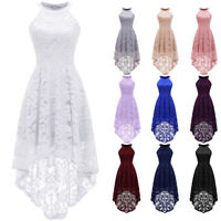 Women's Halter Lace Dress Sleeveles High Low Party Cocktail Evening Prom Dresses