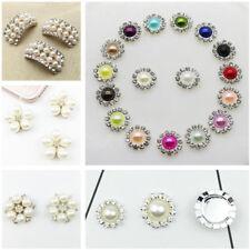 10pcs Rhinestone Crystal Pearls Shank Buttons Flower Embellishment Sewing Craft