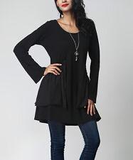 #44 Ladies Designer Size UK 16 Black Mixed Media Overlay Tunic Jumper Dress BNWT