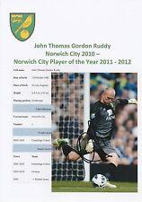 John rojiza Norwich City 2010-Original fotografía firmada a mano