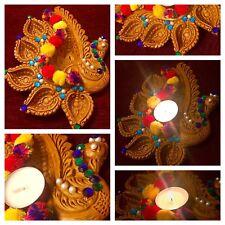 Clay Diya Pot Handmade Peacock Terracotta Meditation Clay Diya Mehndi Tea Lights