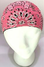 Women's Bling Pink Paisley Rhinestone Head Wrap Doo Rag Skull Cap with Sweatband