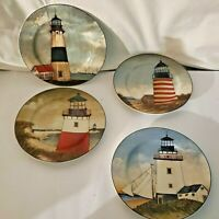 4 Different Lighthouse Collector Plates By the Sea Decor David Carter Brown