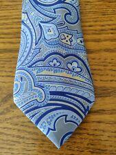 Chap's neckwear blue brown paisley print tie 100% silk EUC