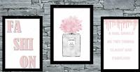 Set of 3 Wall Art Prints Blush Fashion Home Dressing Room Bedroom Salon Poster