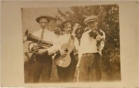 Real Photo RPPC Music Musicians~3 Young Men with Brass Mellophone~Guitar~Violin