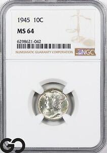 1945 MS64 Mercury Dime PCGS Mint State 64 ** Lustrous Beauty!