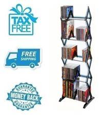 New 5 Tier Media Rack 130 CD Multimedia Black DVD Organizer Game Storage Shelve