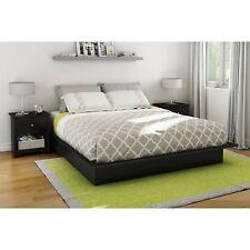 Queen Size Platform Bed Black Mattress Foundation Bedroom Furniture Frame Modern