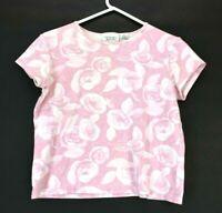 Christopher & Banks Women's Large Short Sleeve T-Shirt Cotton Floral Rose Pink
