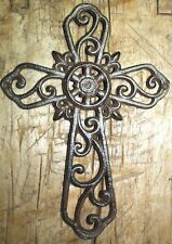 Cast Iron VICTORIAN Style IVY Scroll Wall Cross Rustic Decorative Finish Decor