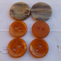 6 große runde Zweilochknöpfe Bakelit Vintage 1930 braun beige 4,5 cm honig 3,5 c