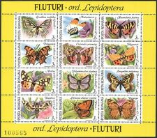 Romania 1991 Butterflies/Insects/Nature/Butterfly 12v sheet ref:b38