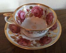 Regency Porcelain Tea Cup & Saucer Rose 19th c. Coalport Schlaggenwald Vienna