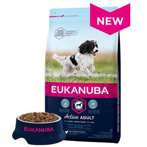 Damaged Eukanuba Active Adult Medium Breed Chicken Dry Dog Food-12kg