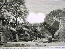 MIDLAND LINE HEREFORD TRAIN ACCIDENT 1880 Art Matted