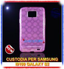 Pellicola+Custodia CERCHI VIOLA per Samsung I9100 galaxy s2 plus I9105