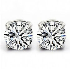 Jewellery Men Women 925 silver Cubic Zirconia Diamonique Stud Earrings 4 Claw