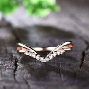 Art Deco V Shaped Chevron Style Wedding Ring 0.10 Ct Round Cut 14K Rose Gold GP