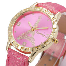 Ladies Fashion Gold Eiffel Tower Hot Pink Faced Quartz Hot Pink Band Wrist Watch