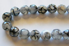 50pcs 8mm Round Natural Gemstone Beads - Grey Dragon Vein Agate (Faceted)