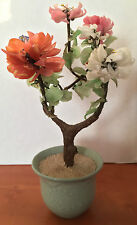 JADE BONSAI TREE ASIAN ORIENTAL CARVING ART PINK  & WHITE FLOWER BLOSSOMS