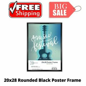 20x28 Rounded Black Poster Frame, Home Wall Decor, Picture Frame, Modern Style