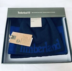 Timberland Logo Jacq Muffler And Rev Beanie Box Set One Size Blue