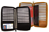 New Leather Checkbook Cover Long Wallet 17 Credit Card Zip Accordion Secretary
