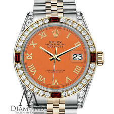 Rolex 18K & Steel 31mm Datejust 2 Tone Orange Gold Roman Numeral Diamond & Ruby